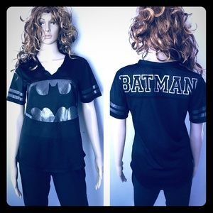 Batman Metallic & Black Mesh V-Neck Jersey